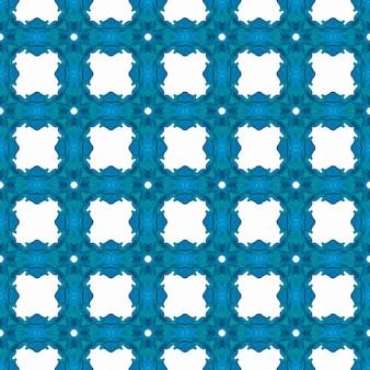 Repetindo a borda desenhada mão listrada. design chique de verão azul brilhante boho. desenho listrado desenhado à mão. impressão chique pronta para têxteis, tecido para biquínis, papel de parede, embrulho.