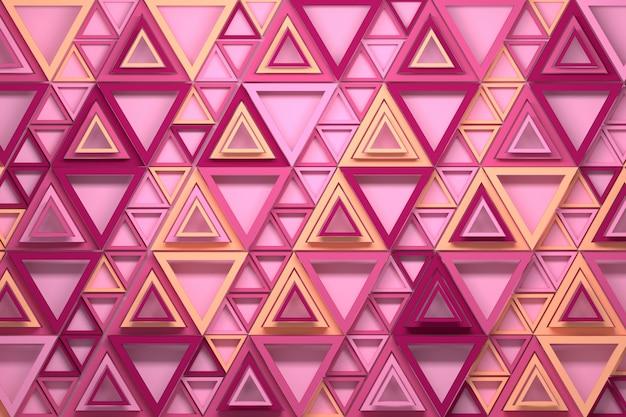 Repetindo o triângulo padrão nas cores rosa e amarelo
