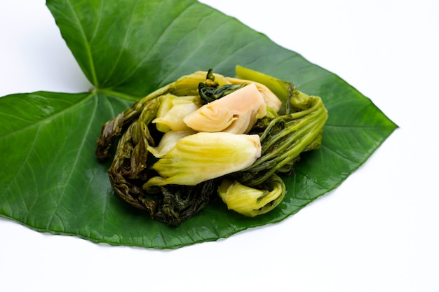 Repolho em conserva, verduras de mostarda. estilo de comida tailandesa