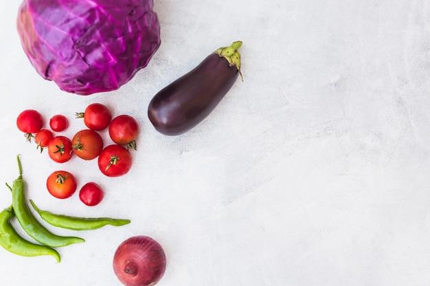 Repolho vermelho; tomates; pimentos verdes; cebola e berinjela no plano de fundo texturizado branco