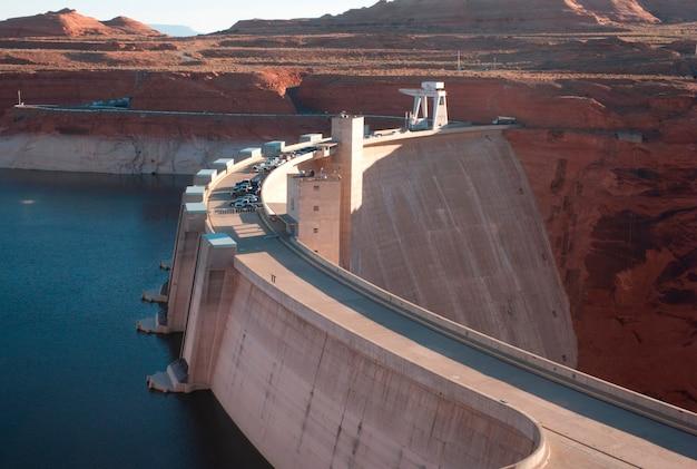 Represa, lago, powell, canhão glen, represa, arizona-utah, eua