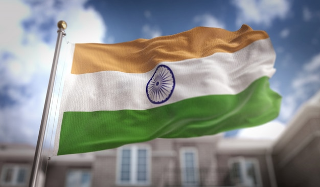 Representação 3d da bandeira da índia no fundo do edifício do céu azul