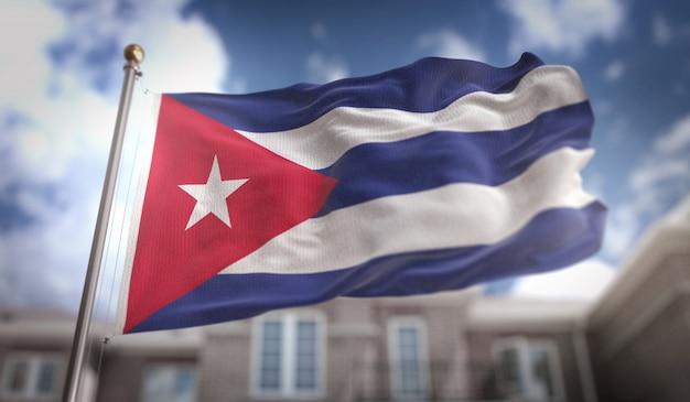Representação 3d da bandeira de cuba no fundo do edifício do céu azul