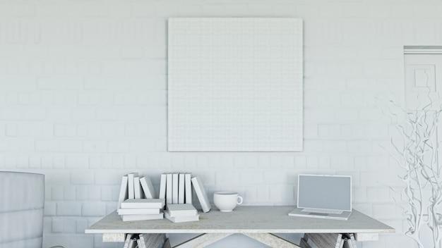 Representação 3d de um escritório com tela em branco na parede de tijolos