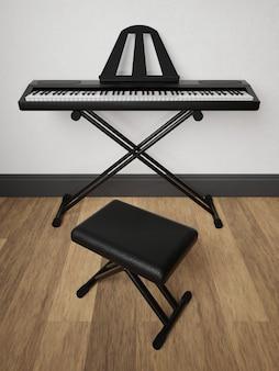 Representação 3d de um piano eletrônico em um suporte de metal dentro de uma casa com uma poltrona de couro preto