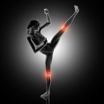 Representação 3d de uma figura feminina em pose de boxe com juntas de joelho destacadas