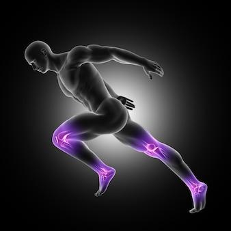 Representação 3d de uma figura masculina em pose de corrida com juntas nas pernas destacadas