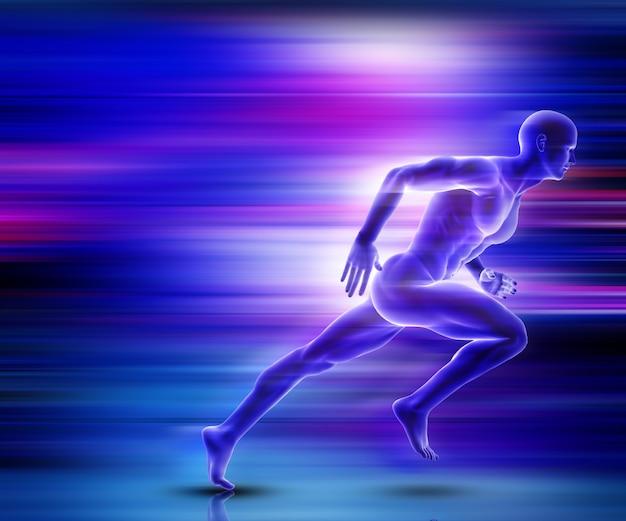 Representação 3d de uma figura masculina que corre com efeito de movimento
