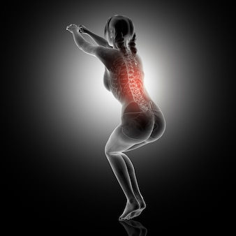 Representação 3d de uma mulher em posição de agachamento com coluna vertebral destacada