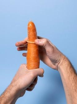 Representação abstrata de saúde sexual com comida
