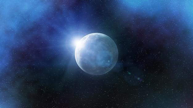 Representação artística fantástica da lua no espaço exterior