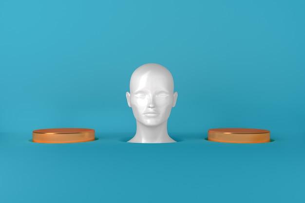 Representação conceitual da cabeça feminina branca feminina entre dois cilindros dourados de ilustração 3d de passarelas