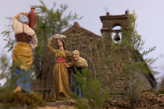Representação do presépio de povos tradicionais da vida rural nas estatuetas de gran canaria espanha