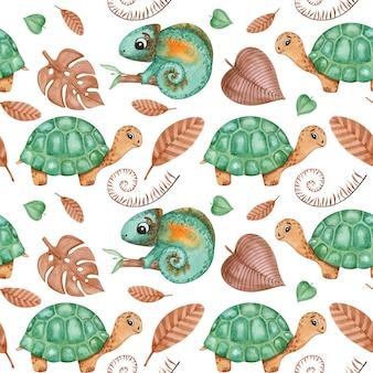 Répteis bebê papel digital, tartaruga, camaleão crianças