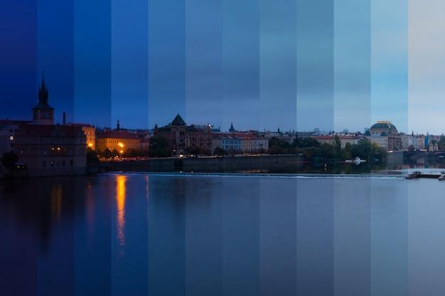 República checa. praga. manhã nublada sobre o rio moldava. colagem fantástica