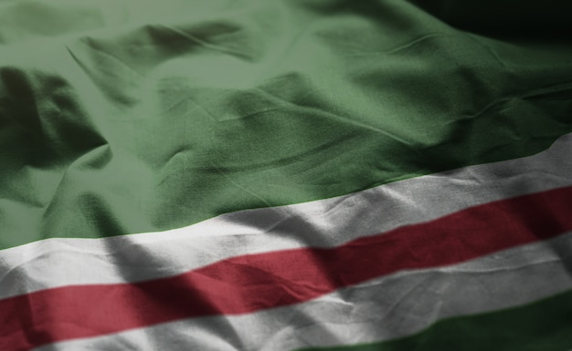 República chechena de ichkeria bandeira amarrotada close up