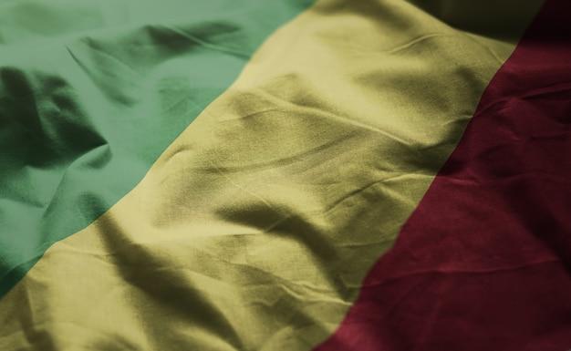 República da bandeira do congo amarrotada close up