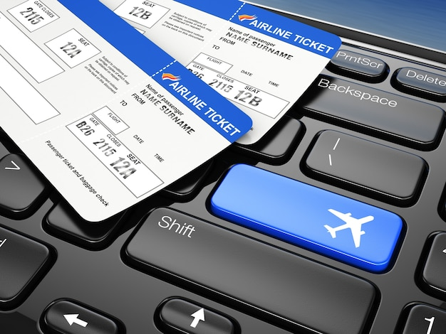 Reserva online de passagens aéreas teclado do laptop 3d