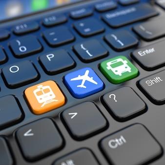 Reserva online de passagens para ônibus de trem ou avião teclado 3d do laptop