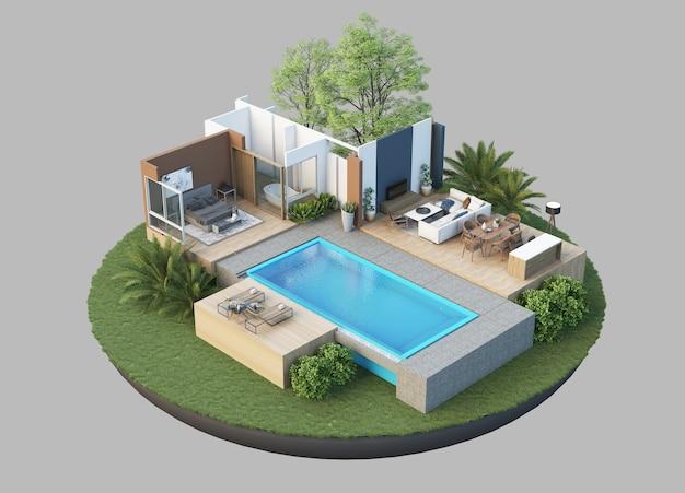 Residência em estilo 3d