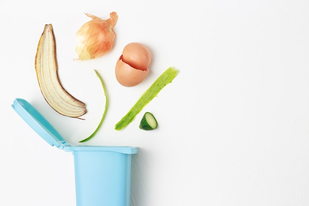 Resíduos orgânicos e lixeira em um fundo branco, o conceito de triagem de lixo