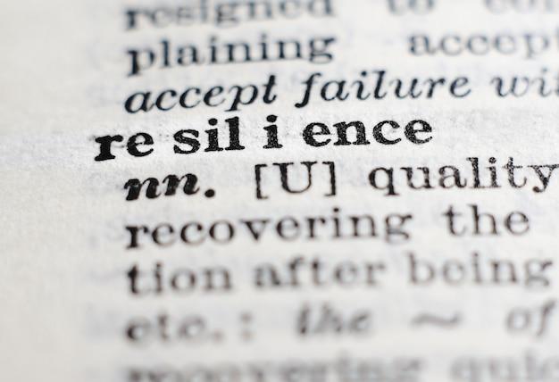 Resiliência. definição de dicionário, foco seletivo. perseverança, adaptação e conceito de lidar com o fracasso.