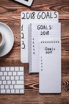 Resoluções de ano novo. vista do topo.