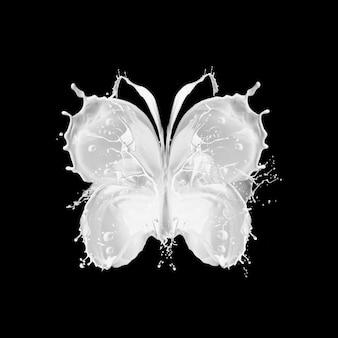 Respingo abstrato de leite em forma de borboleta em fundo preto.