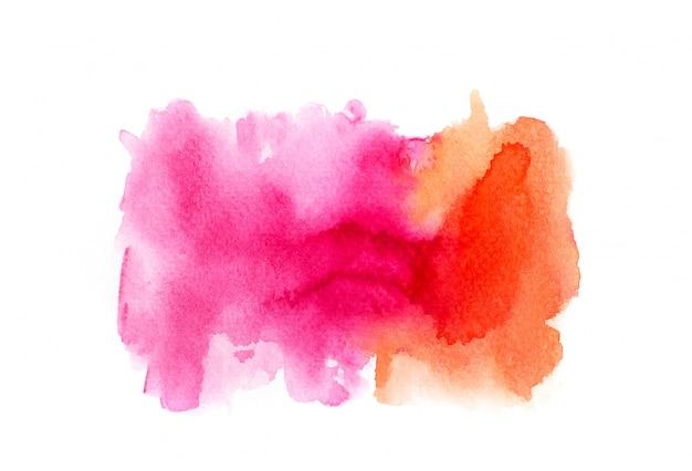 Respingo de aquarela colorida rosa e laranja.