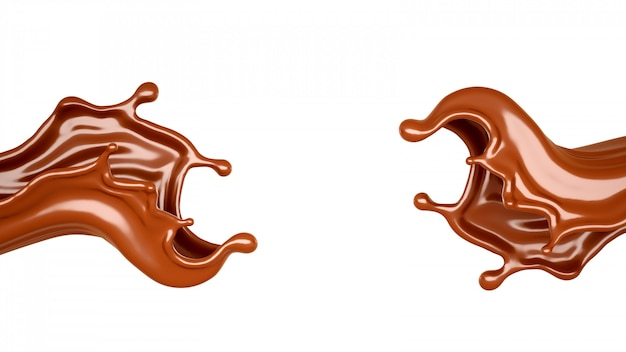 Respingo de chocolate isolado em um fundo branco. renderização em 3d.