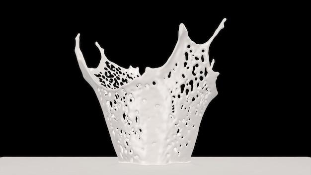 Respingo de coroa de leite, renderização em 3d.