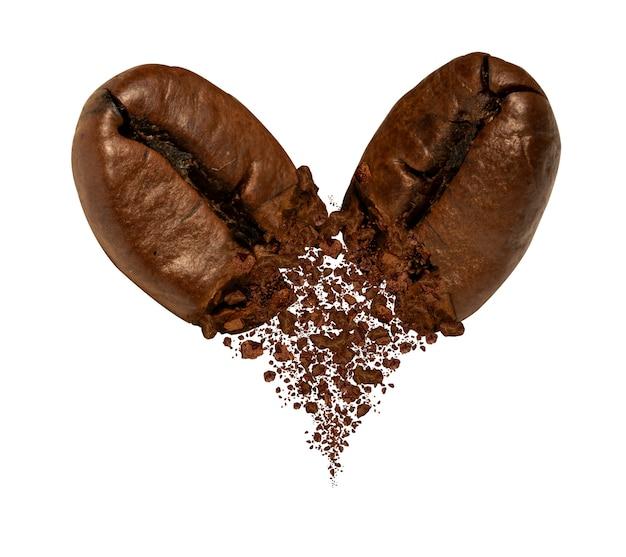 Respingo de dois grãos de café