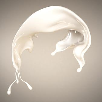 Respingo de leite. ilustração 3d, renderização em 3d.