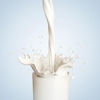 Respingo de leite no copo no fundo branco