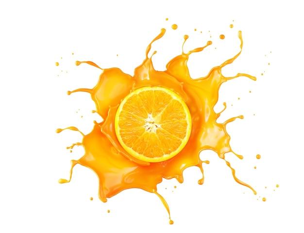 Respingo de suco de laranja com fatia de laranja