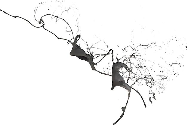 Respingo de tinta preta isolado no fundo branco