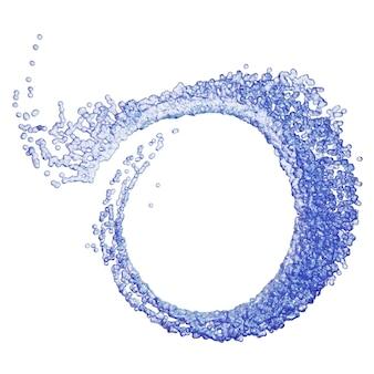 Respingo líquido azul sob a forma de uma espiral.