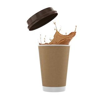 Respingo líquido de café com copo de papel