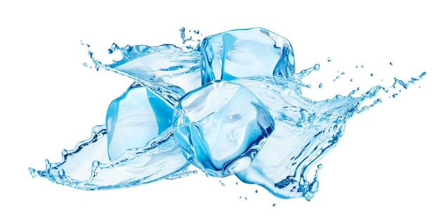 Respingos de água com cubos de gelo isolados no fundo branco