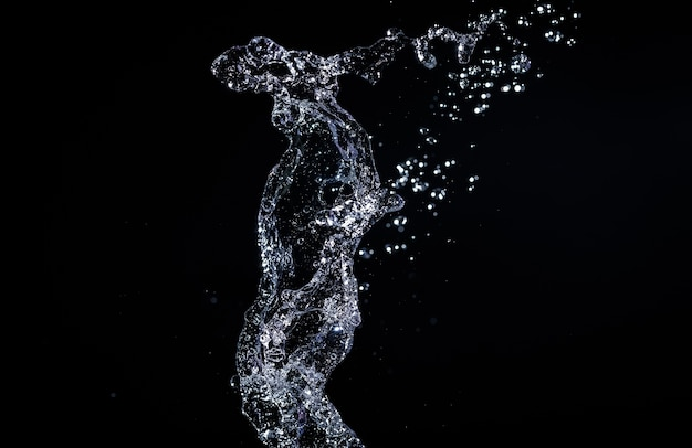 Respingos de água no fundo preto