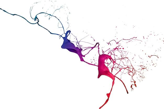 Respingos de tinta colorida isolados no fundo branco