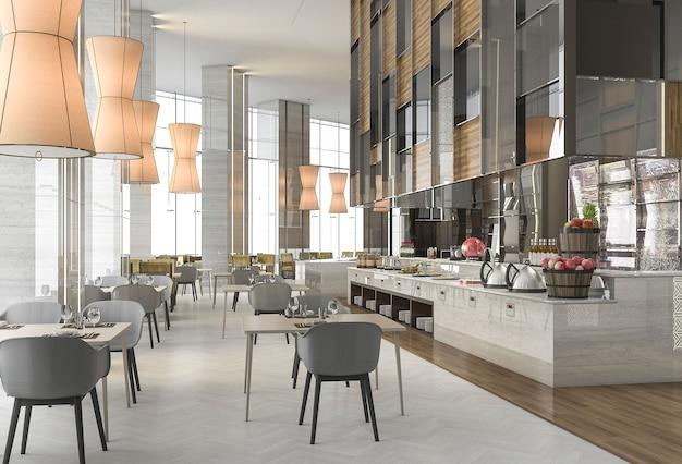 Restaurante agradável de renderização 3d com decoração elegante