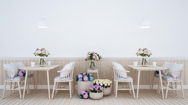 Restaurante com decoração floral
