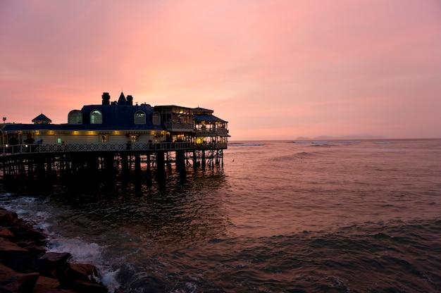 Restaurante, em, um, oceânicos, la rosa nautica, miraflores, distrito, lima, província, peru