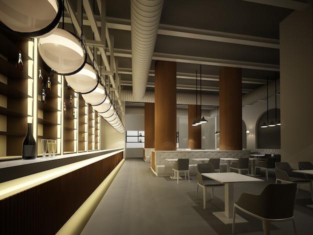 Restaurante interior, renderização em 3d