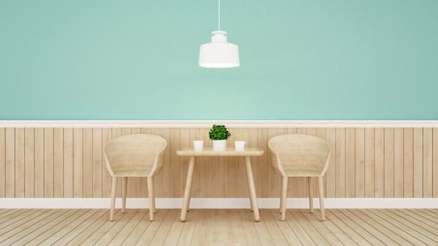 Restaurante ou café no design de parede verde