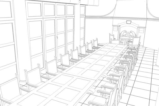 Restaurante terraço de verão ilustração 3d esboço esboço