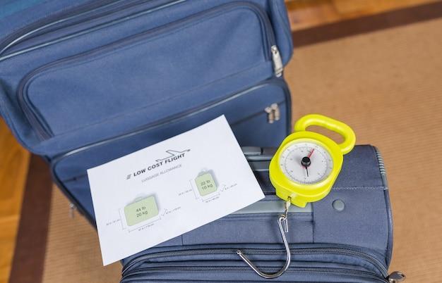 Restrições de bagagem de companhias aéreas de baixo custo e bagagem pronta para pesar com uma balança de aço no fundo