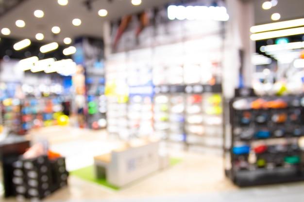 Resumo blur com bokeh e desfocado shopping em loja de departamento