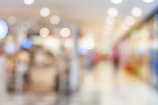 Resumo blur iluminação bokeh shopping center interior da loja de departamento